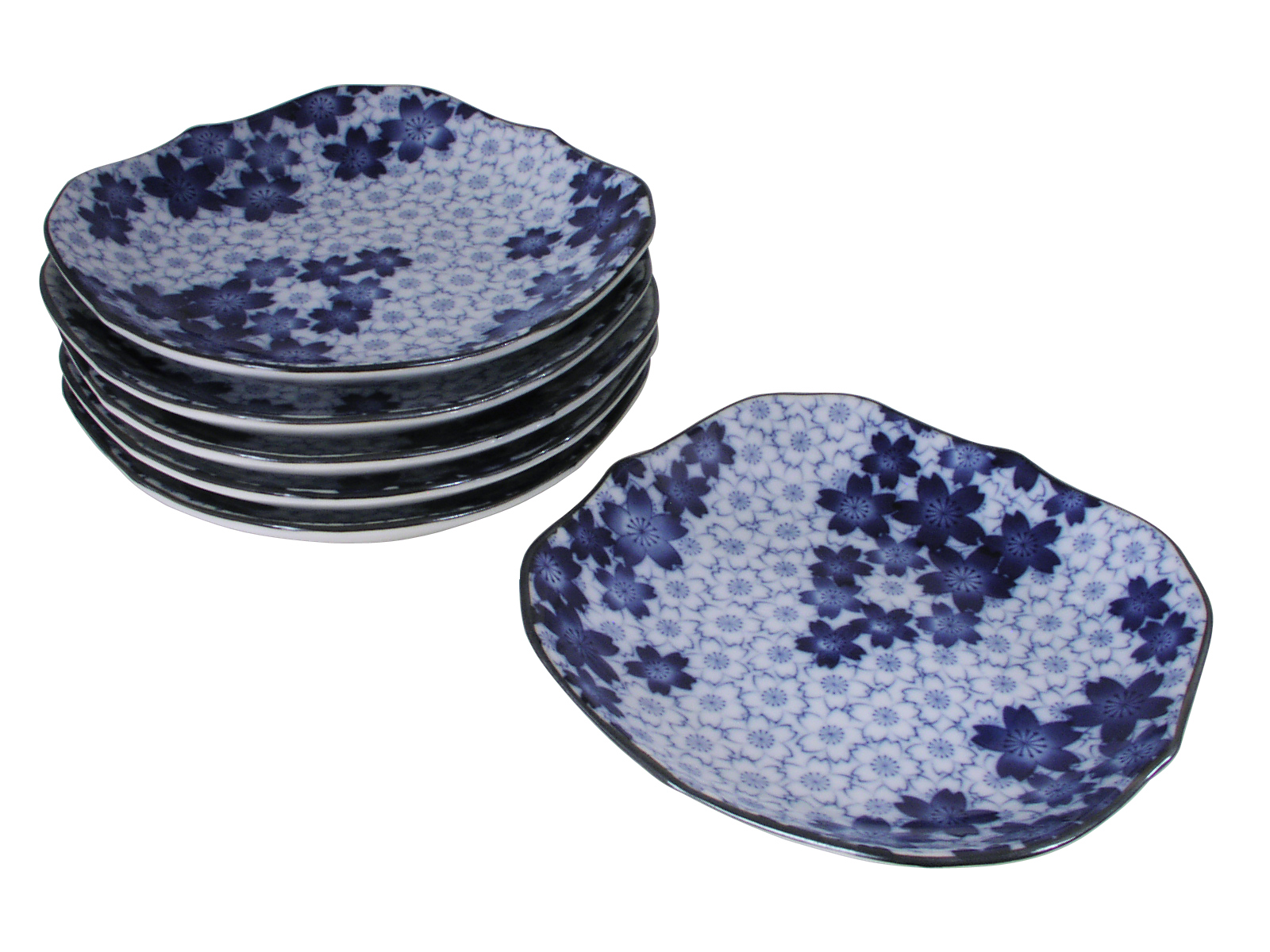 sc 1 st  Mrs. Linu0027s Kitchen & Royal Blue Sakura Blue and White Dinnerware Plate Set for Six