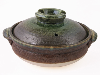 Large Rustic Jade Green and Brown Japanese Donabe Clay Pot