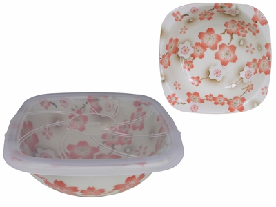 Season of Cherry Blossoms Orange Pink Square Top Small Japanese Bowl with Lid