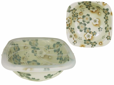 Season of Cherry Blossoms Square Top Pale Green Japanese Ceramic Bowl With Lid