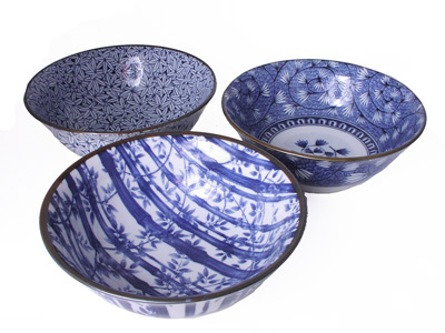 Seasons of Plants and Flowers Blue and White Japanese Noodle Bowl Set for Three