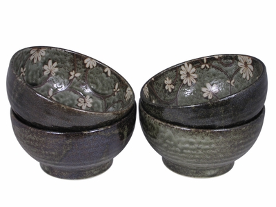 Serene Meadow of Cosmos Japanese Ceramic Bowls Set for Four (Two Sets Only)