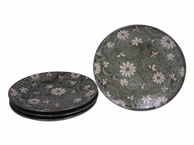 Serene Meadow of Cosmos Japanese Plate Set for Four