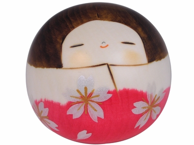Shimmering Silver Cherry Blossoms on Pink Kimono Short and Round Adorable Wooden Japanese Doll
