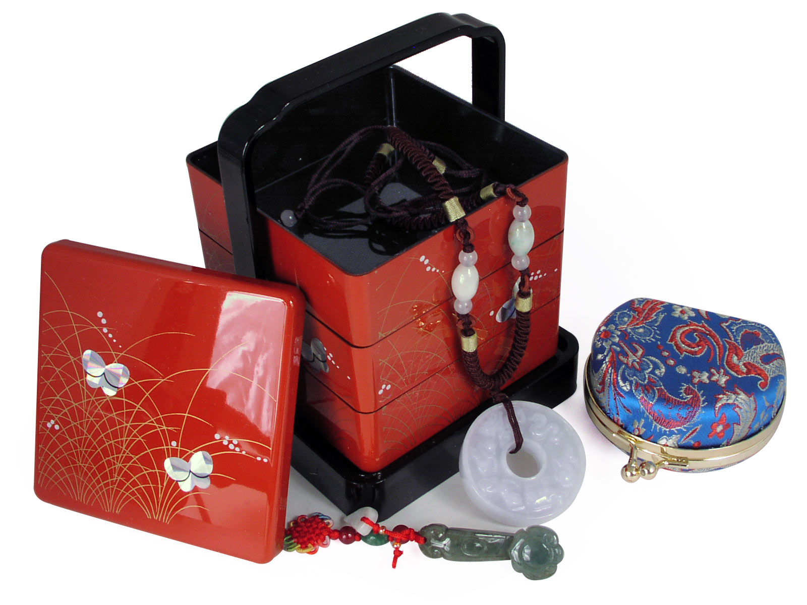Japanese style box feng shui jade jewelry gift set for Japanese inspired gifts