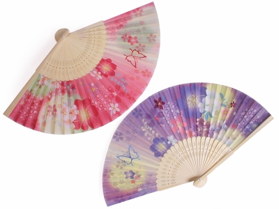 Springtime Butterfly and Cherry Blossoms Folding Fan Set of Two
