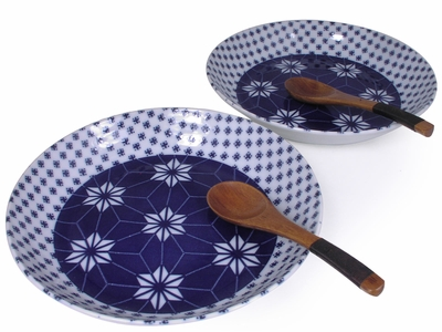 Starburst Asian Bowls and Spoons for Two