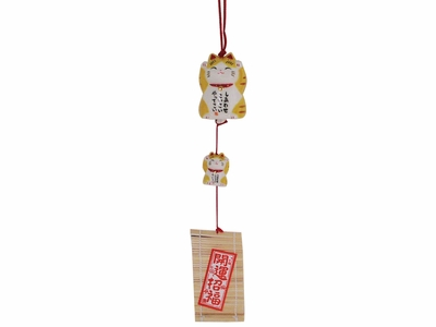 Striped Orange Japanese Good Luck Cat Charm Wind Chime