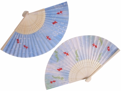 Swimming Goldfish in Shimmering Waters Asian Fan Set of Two