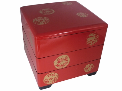 Three Tiered Bamboo Leaves, Pine Trees and Cherry Blossoms Red Japanese Bento Box