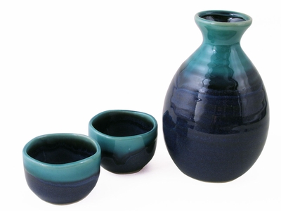 Tranquil Lake Polished Turquoise Sake Gift Set for Two