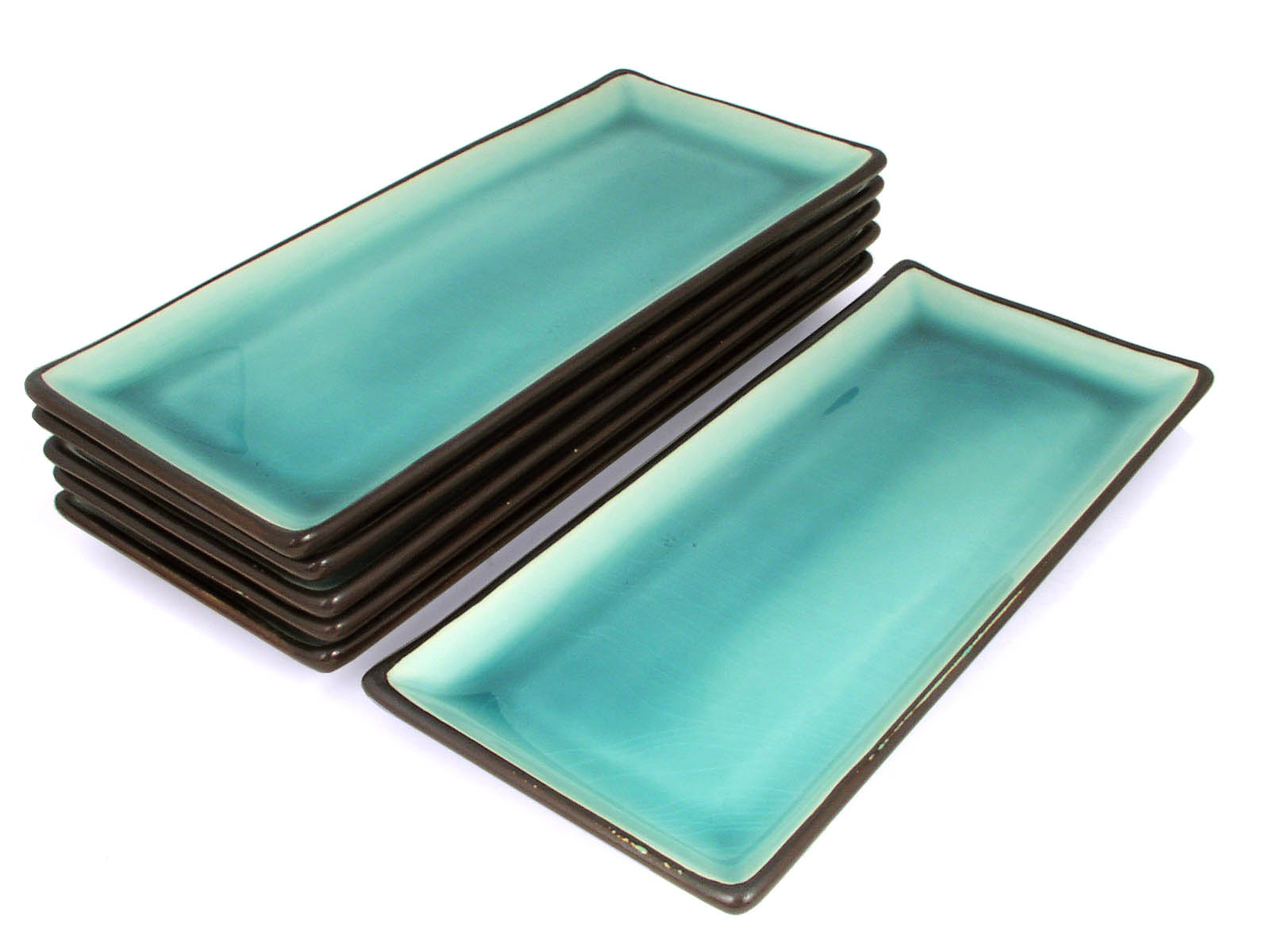 Canisters Kitchen Tropical Teal Rectangular Plate Set 5 Plates Only