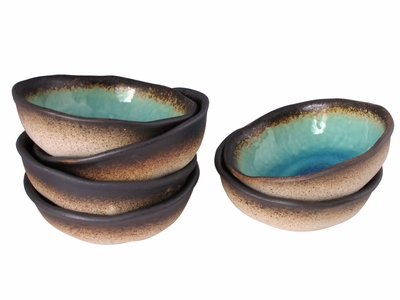 Turquoise Sky and Earth Small Nesting Bowls Set of Six
