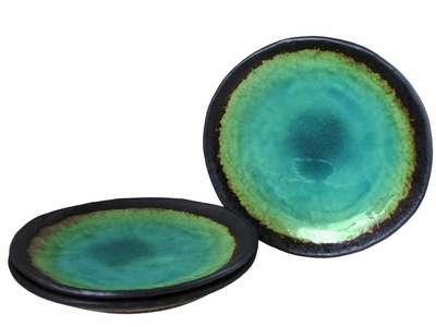 Turquoise Sky and Earth Japanese Ceramic Dishes Set for Three
