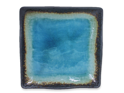 Turquoise Sky and Earth Large Japanese Square Plate