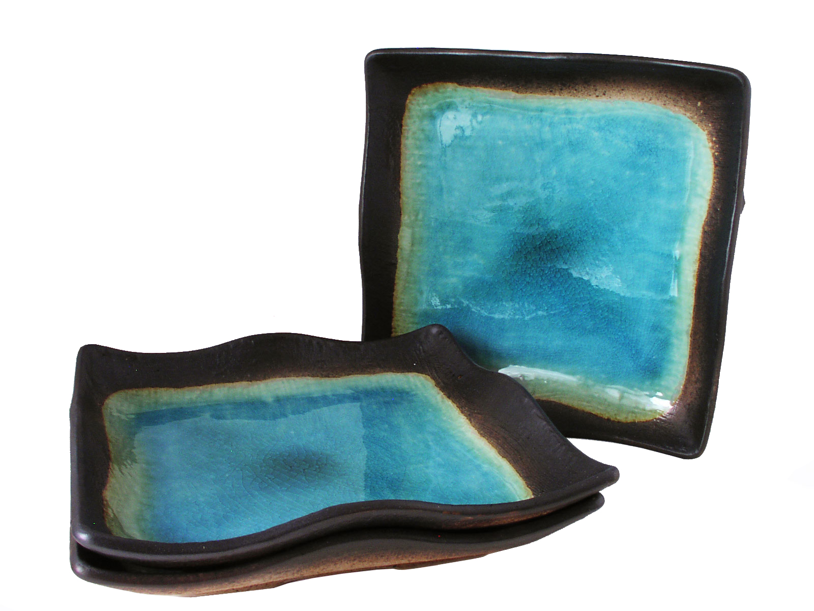 turquoise sky and earth large square japanese dinner plates set for three