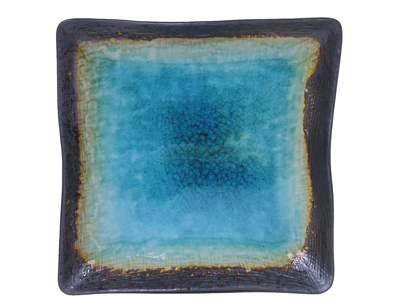 Turquoise Sky and Earth Medium Japanese Square Plate