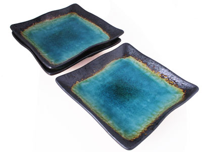 Turquoise Sky and Earth Medium Square Japanese Plate Set for Three