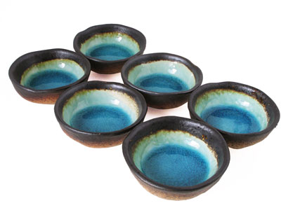 Turquoise Sky and Earth Soy Sauce Dipping Bowls