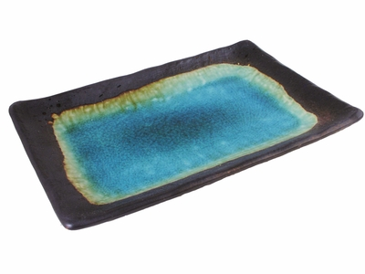 Turquoise Sky and Earth Wide Rectangular Asian Dinner Plate