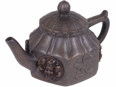 Unique Hexagonal Brown Majestic Faces Sculpted Yixing Tea Pot