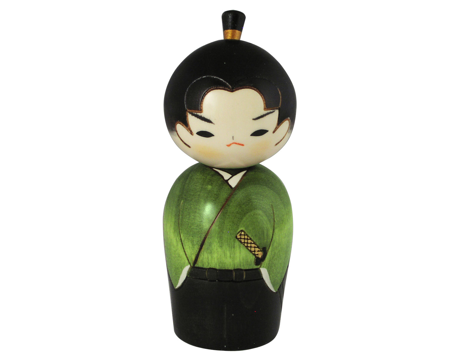 Kitchen Canister Unique Japanese Samurai In Green Traditional Kokeshi Doll