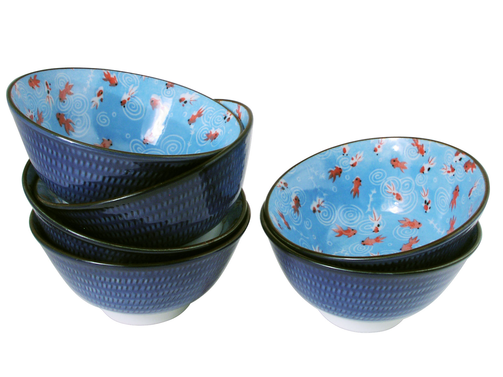 Vibrant Goldfish Dance Asian Rice Bowl Set For Six