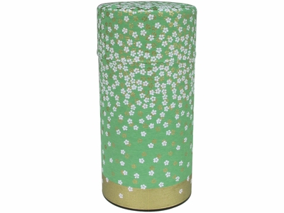 White and Gold Cherry Blossoms Green Washi Tea Container