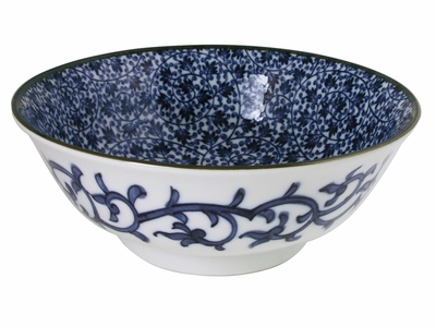 White and Navy Blue Karakusa Vintage Inspired Floral Large Ceramic Noodle Bowl