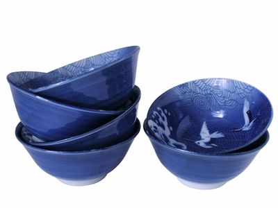 White Cranes in Flight Blue Waves Japanese Crane Rice Bowls Set for Six