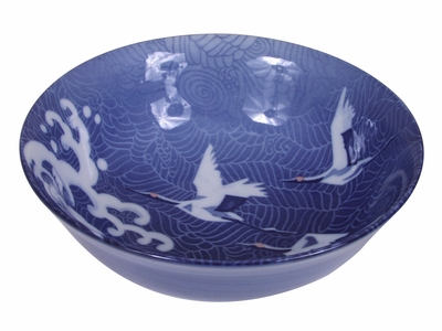 White Cranes in Flight Blue Waves Japanese Noodle Bowl