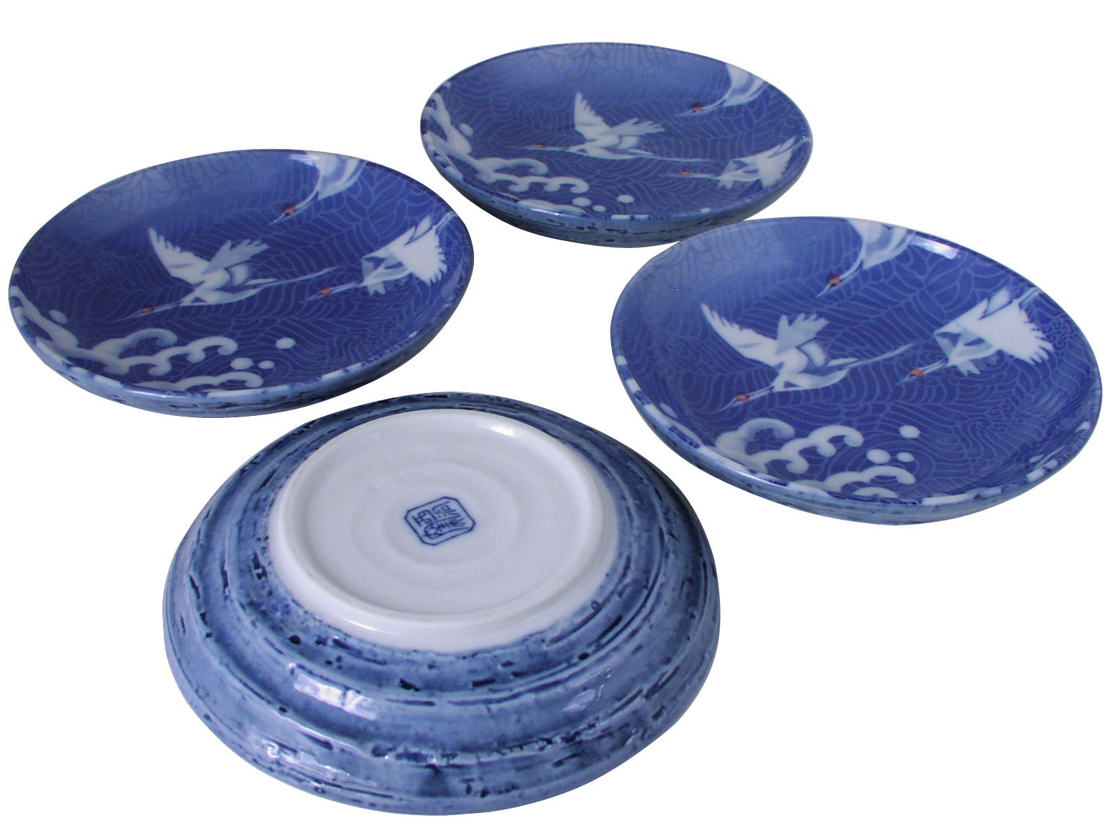sc 1 st  Mrs. Lin\u0027s Kitchen & White Cranes in Flight Blue Waves Oriental Dishes Set for Four