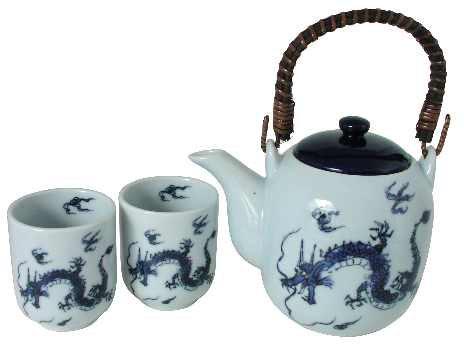White with Blue Tones Japanese Dragon Tea Set for Two