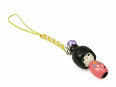 Wooden Kokeshi-Style Doll Charm