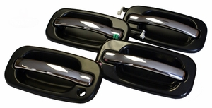 New LatchWell Black & Chrome Outside Door Handle Set