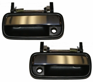 New LatchWell Outside Door Handle Pair - Black & Chrome