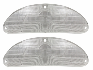 Trim Parts: A1027 / New 1955 Chevy Full Size Bowtie Parking Light Lens, Clear