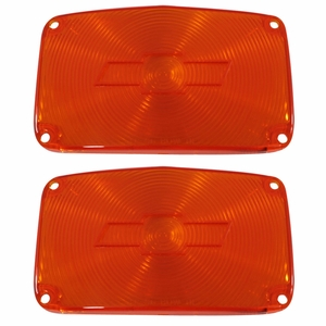 Trim Parts: A1386 / New 1956 Chevy Full Size Bowtie Parking Light Lens, Amber
