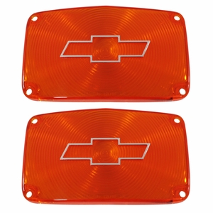 Trim Parts: A1386C / New 1956 Chevy Full Size Bowtie Parking Light Lens, Amber