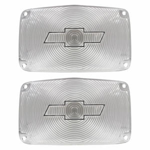 Trim Parts: A1387C / New 1956 Chevy Full Size Bowtie Parking Light Lens, Clear
