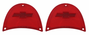 Trim Parts: A1479 / New 1957 Chevy Full Size Bowtie Tail Light Lens, Red