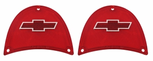 Trim Parts: A1479C / New 1957 Chevy Full Size Bowtie Tail Light Lens, Red