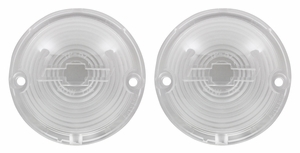 Trim Parts: A1485 / New 1957 Chevy Full Size Bowtie Parking Light Lens, Clear