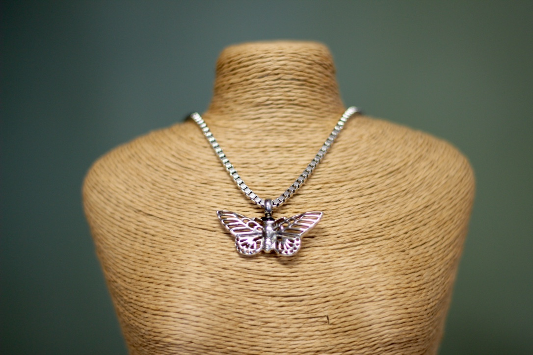 Stainless Steel Butterfly Cremation Necklace