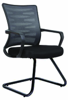 Cantilever Sled Base Side chair with fixed plastic arms and built in lumbar support