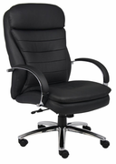 Executive High Back Chair with Padded Chrome Plated Arms and Chrome Base.