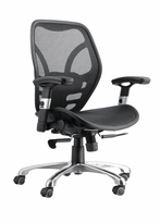 High-Back Executive All Mesh Chair with Aluminum Base and Adjustable Padded Arms. Synchro-mechanism