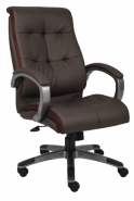 High Back Executive Chair with Upholstered Arm Pads and Chrome Color Frame and Base