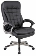 High Back Executive Chair with Upholstered Arms and Pewter Color Arm Frames and Base