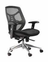 High-Back Managerial Chair with Adjustable Padded Arms, Multi-Function Control, Built-In Lumbar Support and Chrome Base